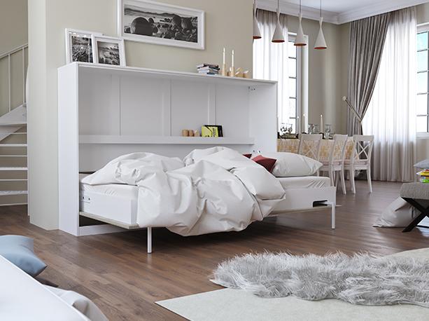 smartbett schrankbett basic 120x200 horizontal weiss eiche sonoma mit 879 95. Black Bedroom Furniture Sets. Home Design Ideas