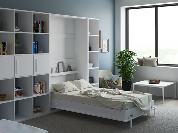 smartbett schrankbett basic 120x200 vertikal weiss mit gasdruckfedern 879 95. Black Bedroom Furniture Sets. Home Design Ideas