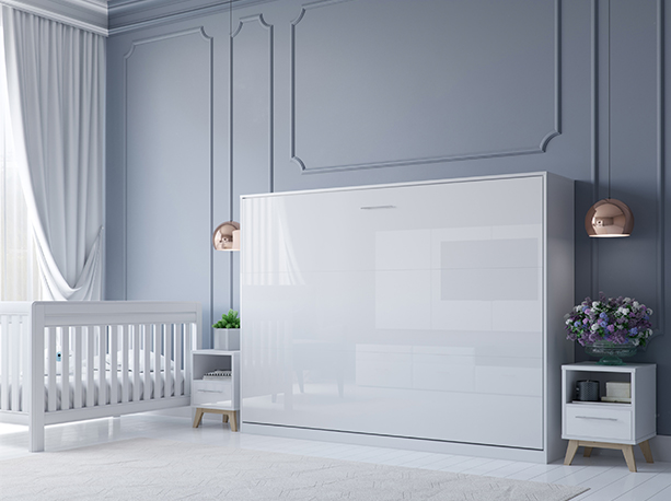 smartbett schrankbett basic 140x200 horizontal weiss weiss hochglanzf. Black Bedroom Furniture Sets. Home Design Ideas