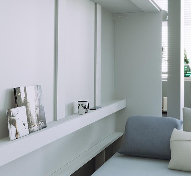 smartbett schrankbett basic140x200 horizontal weiss mit gasdruckfeder 964 95. Black Bedroom Furniture Sets. Home Design Ideas