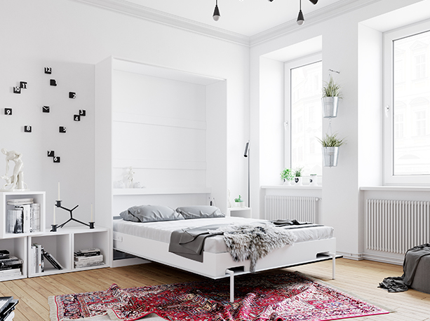 smartbett schrankbett basic 140x200 vertikal weiss anthrazit hochglan. Black Bedroom Furniture Sets. Home Design Ideas