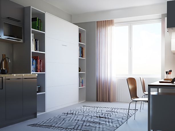 smartbett schrankbett basic 140x200 vertikal weiss mit gasdruckfedern 964 95. Black Bedroom Furniture Sets. Home Design Ideas