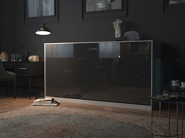 smartbett schrankbett basic 90x200 horizontal weiss anthrazit hochgla 879 95. Black Bedroom Furniture Sets. Home Design Ideas
