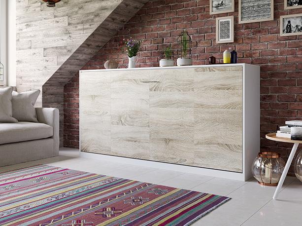 smartbett schrankbett basic 90x200 horizontal weiss eiche sonoma mit 769 95. Black Bedroom Furniture Sets. Home Design Ideas