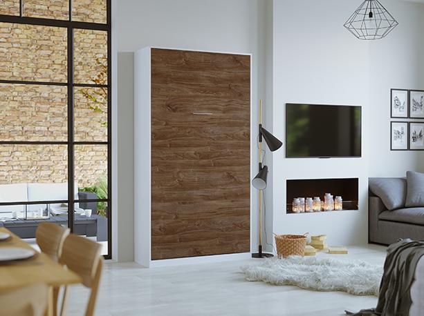 smartbett schrankbett basic 90x200 vertikal weiss nussbaum mit gasdru 769 95. Black Bedroom Furniture Sets. Home Design Ideas