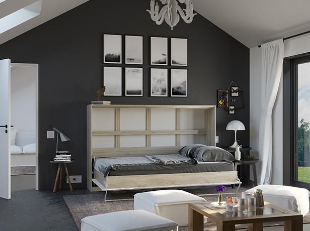 smartbett schrankbett standard 120x200 horizontal eiche sonoma weiss. Black Bedroom Furniture Sets. Home Design Ideas