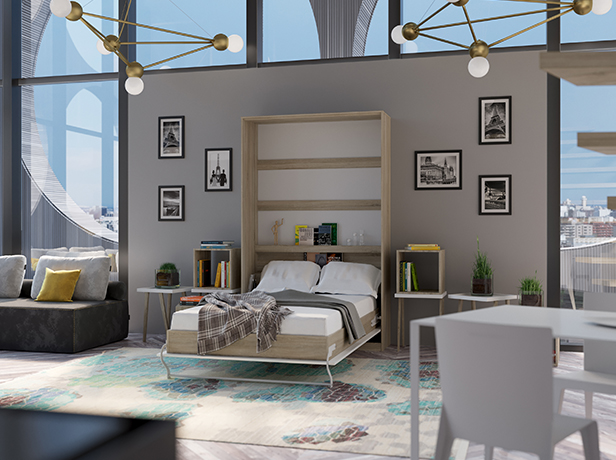 smartbett schrankbett standard 120x200 vertikal eiche sonoma weiss ho. Black Bedroom Furniture Sets. Home Design Ideas