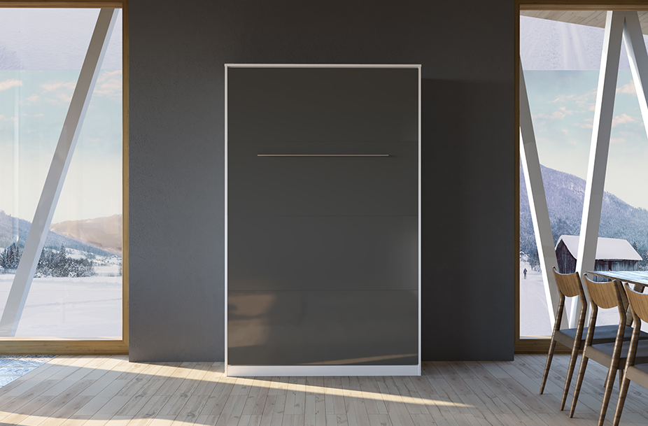 smartbett schrankbett standard 120x200 vertikal weiss anthrazit hochg. Black Bedroom Furniture Sets. Home Design Ideas