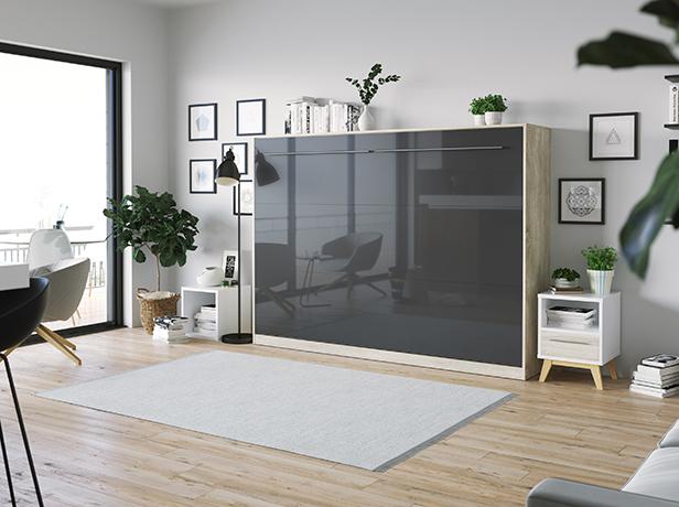 smartbett schrankbett standard 140x200 horizontal eiche sonoma anth. Black Bedroom Furniture Sets. Home Design Ideas