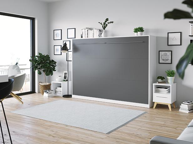 smartbett schrankbett standard 140x200 horizontal weiss anthrazit mit 964 95. Black Bedroom Furniture Sets. Home Design Ideas