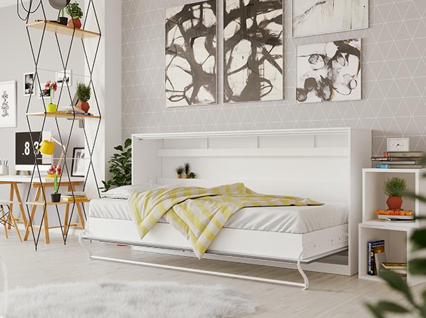 smartbett schrankbett standard 90x200 horizontal weiss anthrazit mit 869 95. Black Bedroom Furniture Sets. Home Design Ideas
