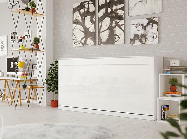 smartbett schrankbett standard 90x200 horizontal weiss weiss hochglan 979 95. Black Bedroom Furniture Sets. Home Design Ideas